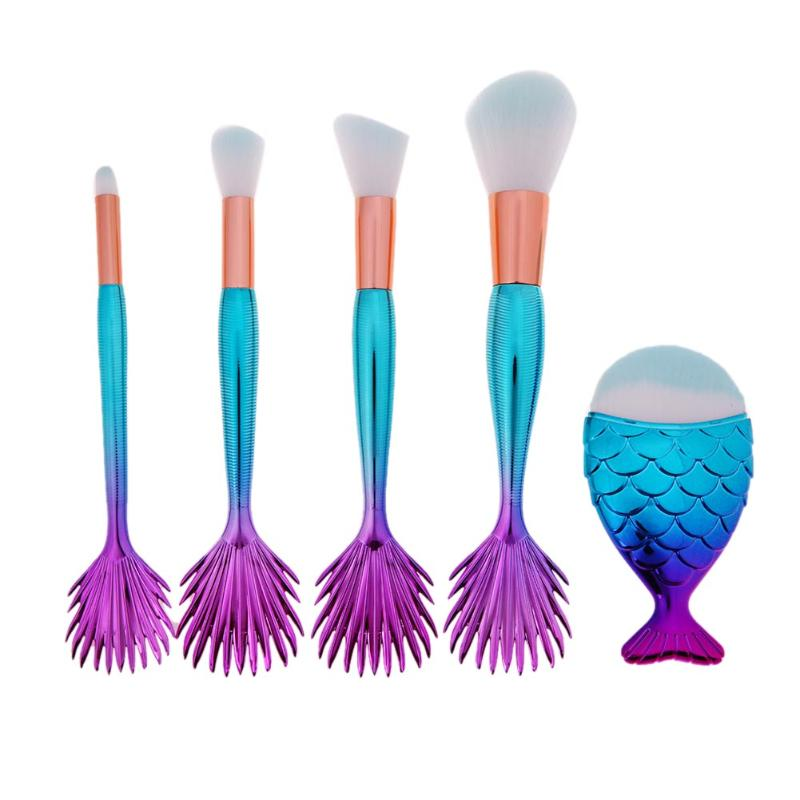 4pcs Mermaid Makeup Brushrs+1pcs Fat Fish Brush Base Face Contour Makeup Eyeshadow Powder Blush Cosmetic Foundation Brush Tools 1000g 98% fish collagen powder high purity for functional food