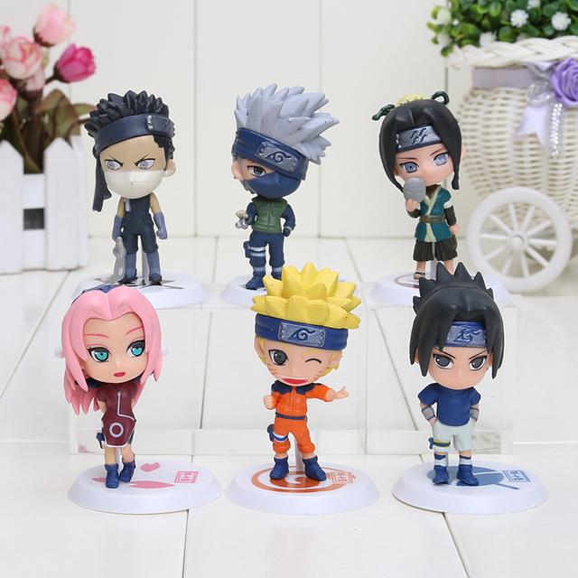 Japan Anime Naruto 6pcs/set 2.8″ figure Naruto Sakura kakashi sasuke haku Zabuza Q version keyring pendant keychain