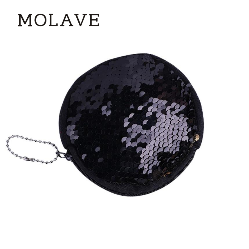 MOLAVE wallets wallet female Solid coin purse zipper Unisex Girls Fashion Color Sequins Bag Coin Wallet Ladies Purse Jan16