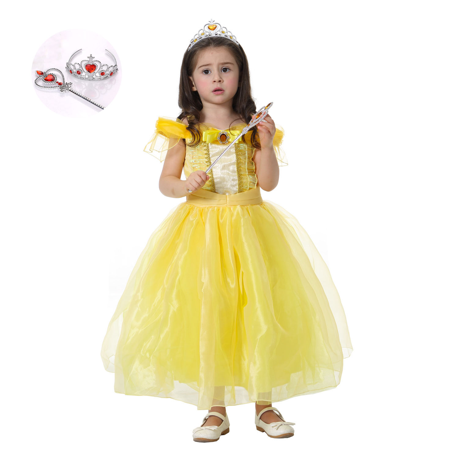 Yellow Pink Halloween Beauty and The Beast Belle Costume Lace Princess Dresses for Girls Clothes Tulle Child Party Clothes q posket beauty and the beast belle pvc figure model toy princess doll gift for girls 13cm