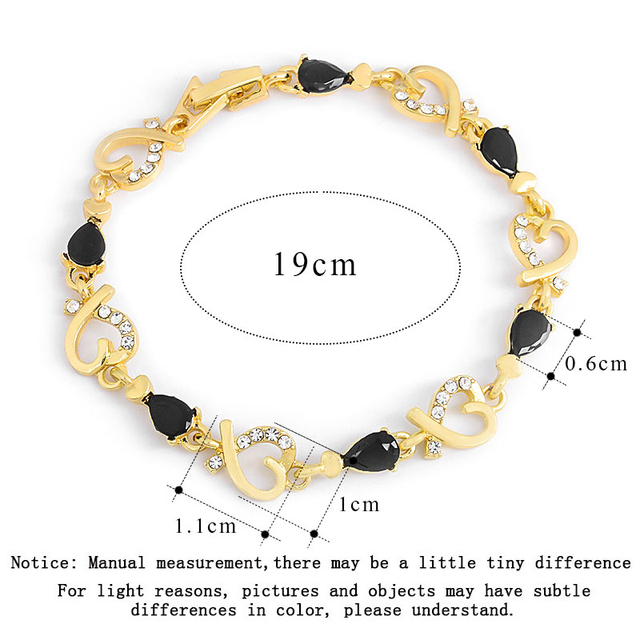 MISANANRYNE New Beautiful Colorful Austrian Crystal Fashion Heart Chain Bracelet Wholesale 2