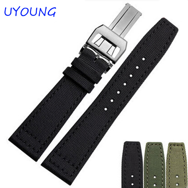 20mm 21mm 22mm Canvas Nylon Genuine Leather Watch Band Black army green Watch accessories Strap цена и фото