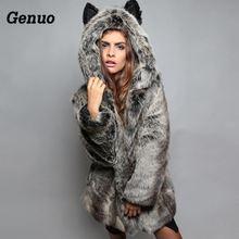 Genuo Faux Fur Coat Winter Women Hooded Fur Coat Female Jacket casacas para mujer Casual Long Sleeve Warm Parka Outwear цены онлайн