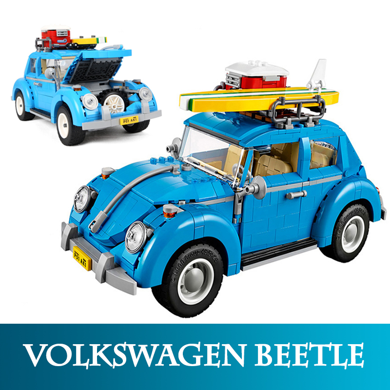 21003 Technic Creative 1193pc Volkswagen Beetle Car Model Building Blocks Assembly Camper Van Bricks Compatible With LegoINGlys gonlei 10566 series volkswagen beetle model sets building kit blocks bricks toy compatible with