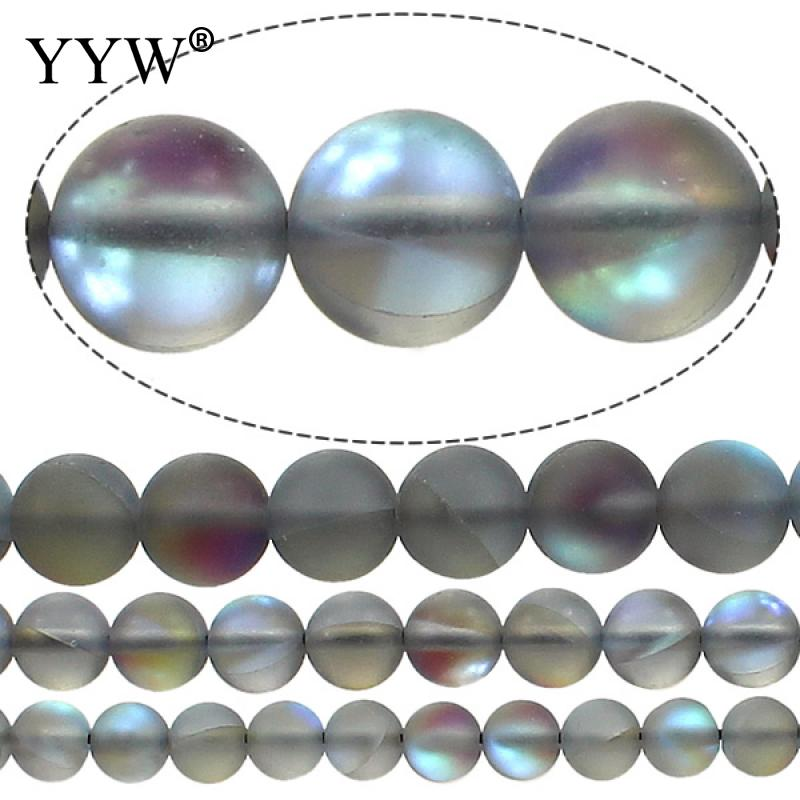 6mm 8mm 12mm Created Moonstone Loose Beads Round Blue Ab Color Frosted Glass Beads Synthesis Stone Beads For Jewelry Making wholesale green color 5000 crystal glass beads loose round stones spacer for jewelry garment 4mm 6mm 8mm 10mm