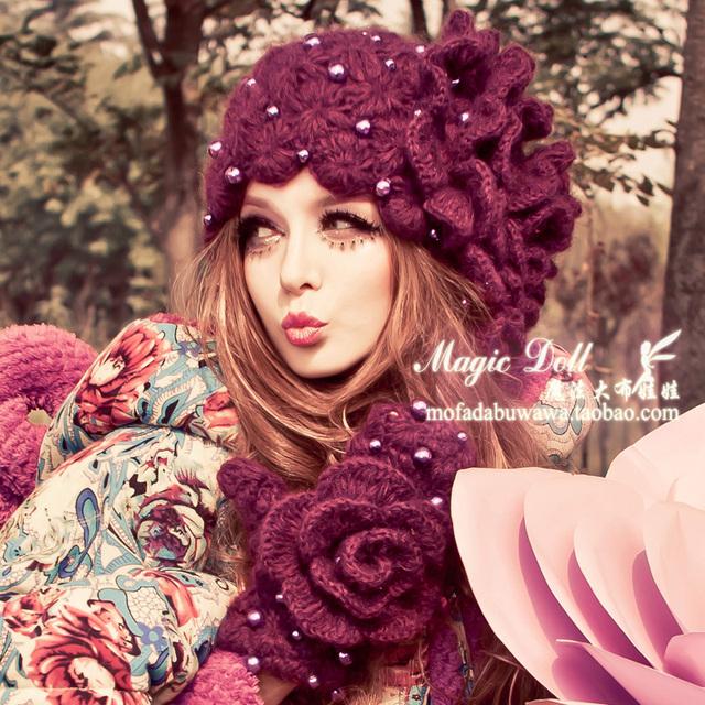Magia grandes bonecos inverno feminino damas de flor roxo pérola flor chapéu de inverno