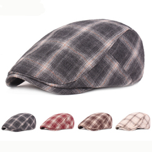 HT2382 Spring Summer Men Women Cap Hat Beret Vintage Plaid Ivy Newsboy Flat Retro Artist Painter Sun