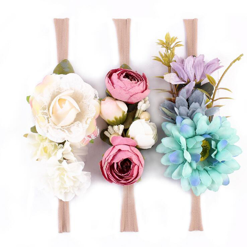 3 Pcs/Set Newborn Flower Headband Nylon Faux Flower Party Flowers Hair Bands Newborn Headwear Photography Props Hair Accessories