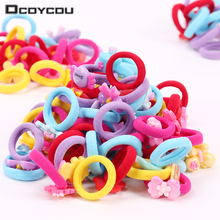 10PCS New Resin Candy Cartoon Children Hair Ring Scrunch Color Elastic Band Cute Rubber Accessories Girl Women Tie Gum