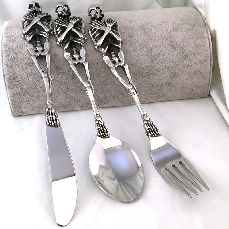 1pc High Quality Special 316L Stainless Steel Silver Tableware Cool Fork Spoon Knife Skull Silverware Cutlery