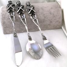 1 stück Hochwertige Spezielle 316L Edelstahl Silber Geschirr Kühlen Gabel/Löffel/Messer Schädel Besteck Besteck Design modernen Look