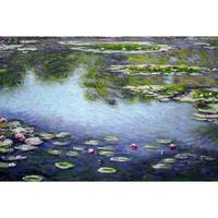 Modern oil painting on canvas Water Lilies II Claude Monet stretched handmade landscape art wall home decor
