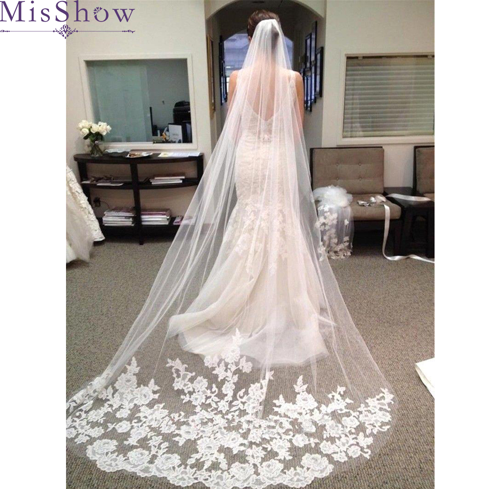 Wholesale 100% ReaI Photo One Layer Tulle Lace Edge Cathedral Wedding Veils 3 M Long Bridal Veil With Comb Wedding Accessories