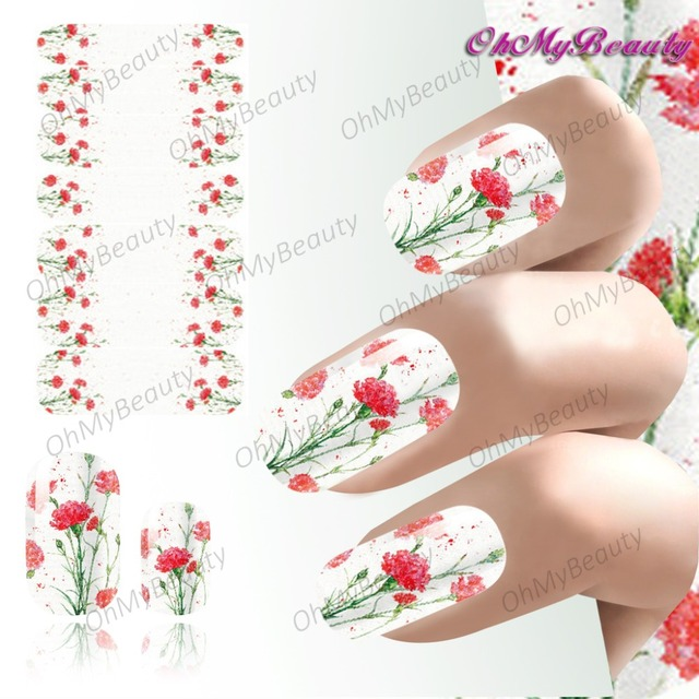 2018 Spring Nail Art Flowers Sticker Decals Full Wraps Self Adhesive