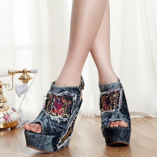 Punta Denim Verano Pic Clásicos Vaquero Bordado Zapatos Abierta 2018 Hebillas As Mujer as Jeans Botines Las Blue Acuñan Tacones Sandalias Pic fwn5qv8