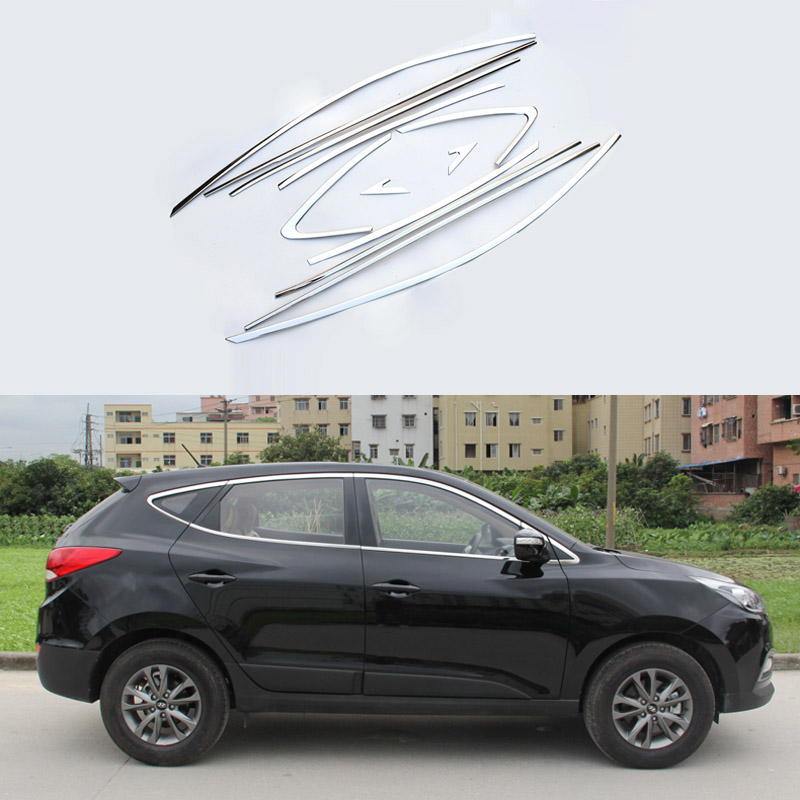 Stainless Steel Styling Full Window Decoration Strips Trim For Hyundai IX35 2013 2014 2015 Car Exterior Accessories OEM-16 full window trim decoration strips for honda civic 9th 2013 2014 2015 auto accessories stainless steel car styling oem 16