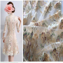 1Yard Mesh Embroidery Fabric Flower African Lace Material Sew Wedding Evening Dress Cloth Net Embroidered Fabric Diy 3d gold ribbon water solube embroidered fabric material tulle african lace applique for sew cloth wedding dress accessories diy