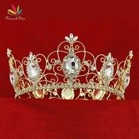 Peacock Star Men's Pageant Full Circle Tiara Crystal Men's Gold Color Metal King Crown CT1784