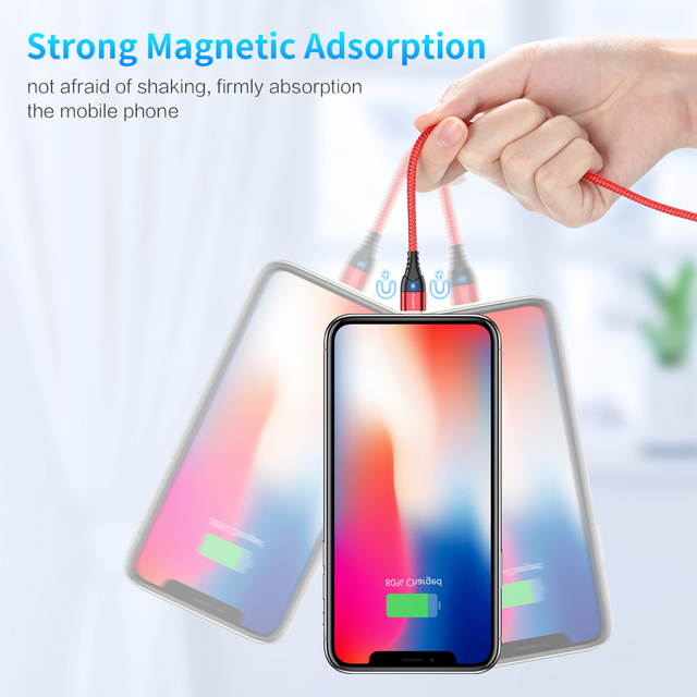 FLOVEME Magnetic Cable Micro USB Type C For iPhone Lighting Cable 1M 3A Fast Charging Wire Type-C Magnet Charger Phone Cable
