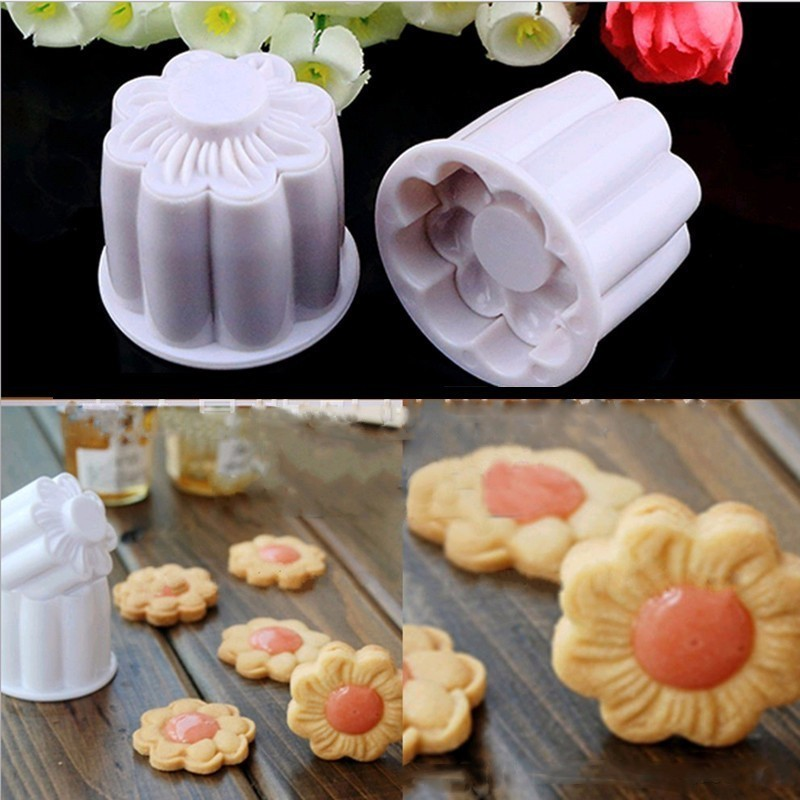 New 2Pcs Cookie Cutters Mold Sugarcraft Fondant Cake Decorating DIY Tool 3D Flower Cookie Press Mold Baking Decorating