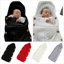 цена на Autumn Winter Baby Knitted Swaddle Wrap Blanket Newborn Stroller Sleeping Sack Blanket Infant Toddler Bedding Photography Props