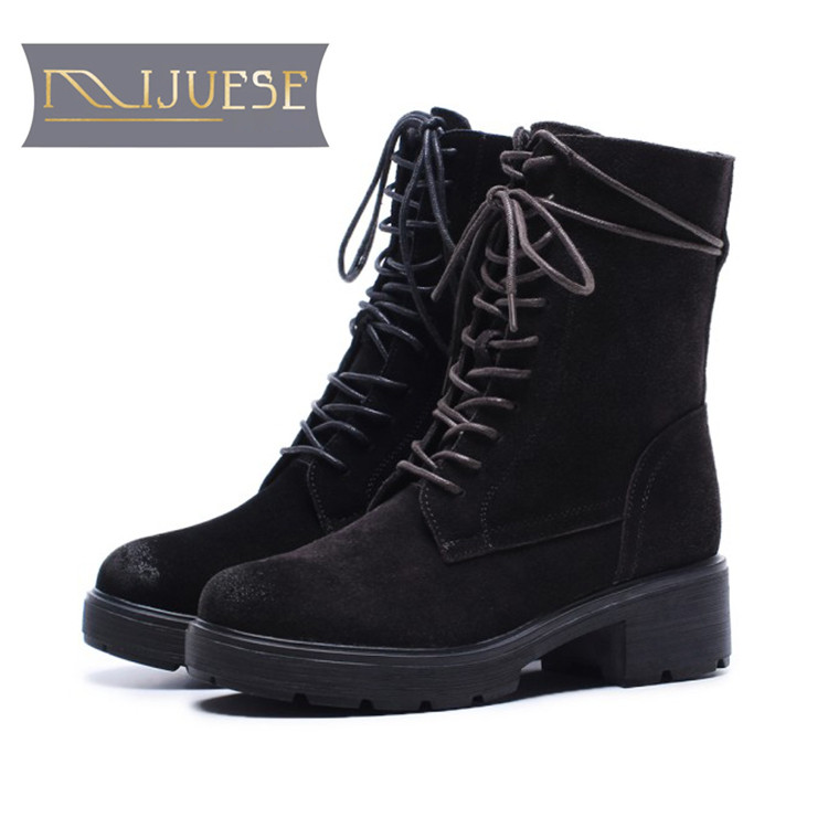 MLJUESE 2018 women Mid-calf boots cow suede lace up round toe winter short plush warm women riding boots female martin boots zorssar 2018 new fashion women martin boots cow suede comfort flats heel lace up mid calf boots autumn winter women shoes