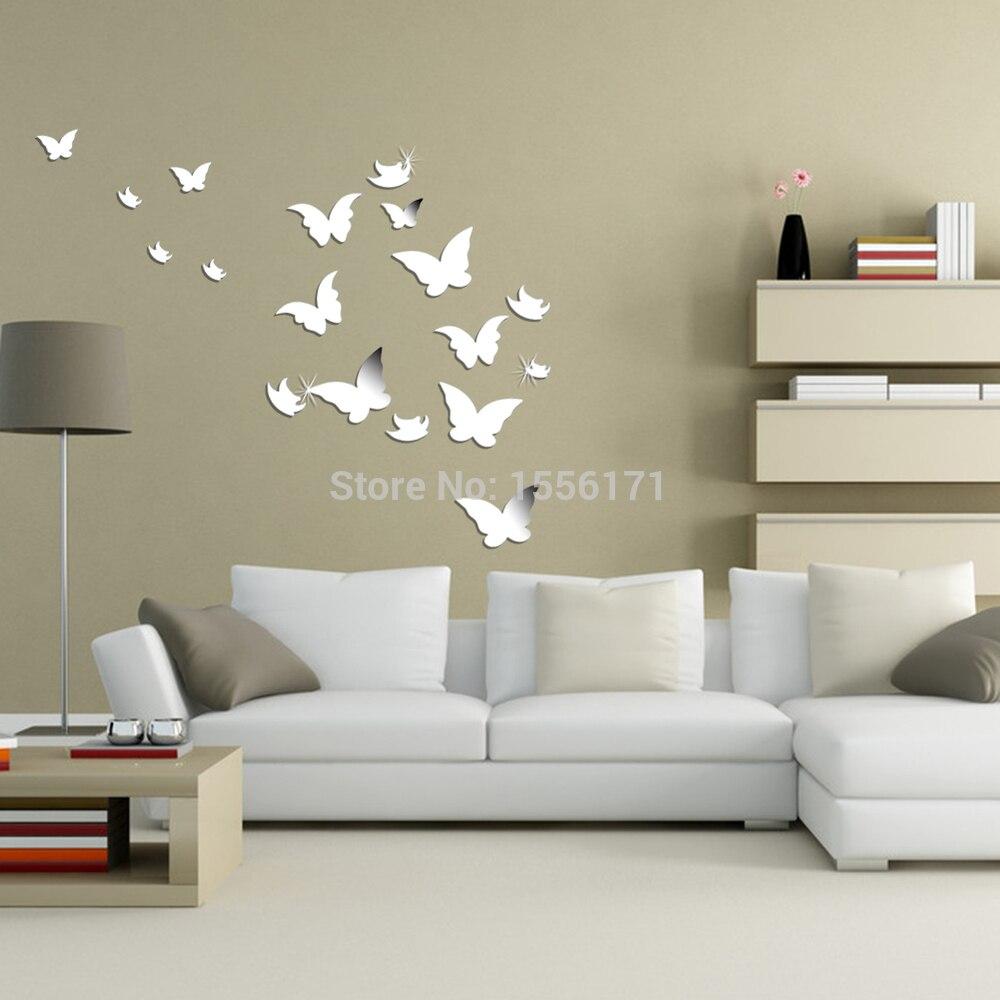 Aliexpress.com : acquista 20 pz 3d adesivi murali moderni argento ...