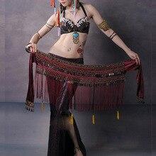2020 US nouveau ventre danse hanche écharpe Coin ceinture Tribal Costume frange gland ceinture cuivre ventre danse ceinture en vente