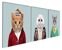 Gardenia Arte-Mundo Animal Serie 6 Blanco Gris y Impresiones de la Lona Moderna Pinturas de Arte de Pared Lindo Gato de Gato amarillo obras de arte