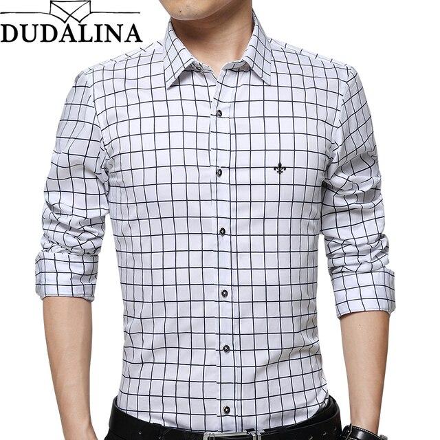 ec2041e44 DUDALINA 100% Camisa Xadrez Roupas Masculinas Dos Homens do Algodão de  Manga Longa Slim Fit