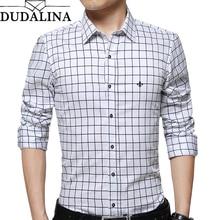 DUDALINA 100% Cotton Men Long Sleeve Plaid Shirt Men Clothes Slim Fit Casual Men