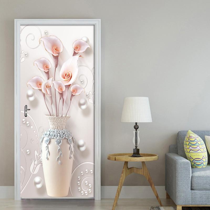 Купить 3d наклейка на дверь ваза с цветами из пвх водонепроницаемый