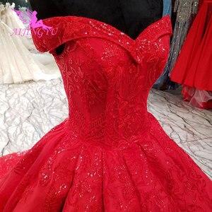 Image 5 - AIJINGYU Hochzeit Empfang Kleid Fett Größe Sexy Designer Dubai Strass Perle Kleid Bodenlangen Braut Tragen Kleider