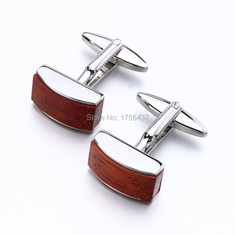 New Rosewood Cufflinks luxury mens wood cuff links brand Jewelry Formal Business wedding Fashion cufflink french
