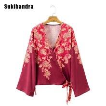 Sukibandra Autumn Floral Print Long Sleeve Red Women Kimono Shirt Blouse Fashion Casual Cardigan Loose V Neck Vintage Blouse
