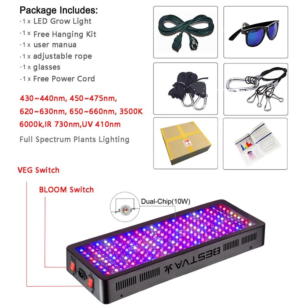 LED élèvent le plein spectre léger 300W 600W 800W 1000W 1200W 1500W 1800W 2000W W Double puce rouge/bleu/UV/IR pour des plantes d'intérieur VEG BLOOM - 4