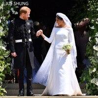 E JUE SHUNG White Satin Simple Wedding Dresses 3/4 Long Sleeves Off the Shoulder Wedding Gowns Bride Dresses vestidos de novia