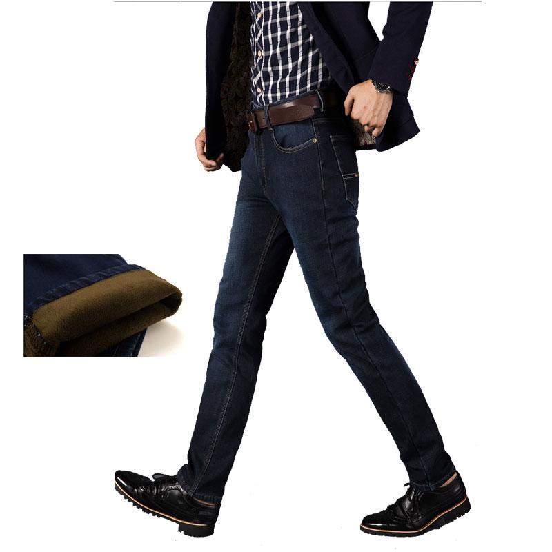 ФОТО 2016 new  Designer warm Jeans Men denim pants thick winte trousers,men jeans pants top denim flocking inside  plus Size 28-42