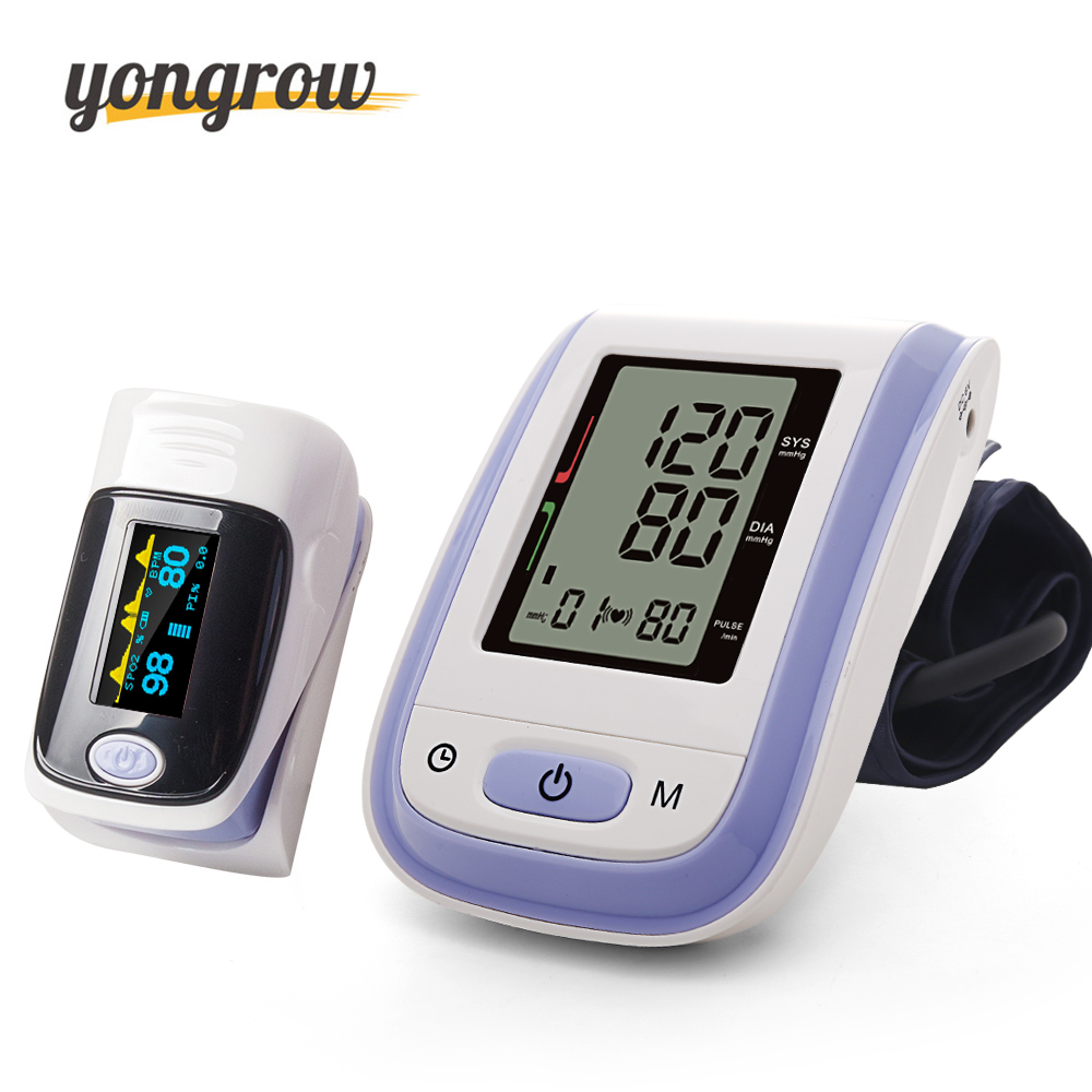 Yongrow Blood Pressure Monitor Portable Fingertip Pulse Oximeter Pressure Gauge Meter oximetro de pulso de dedo pulsioximetro pc 100nw oximetro de dedo pulse oximeter blood saturometro monitor spo2 pr oximetro de pulso portable pulsioximetro