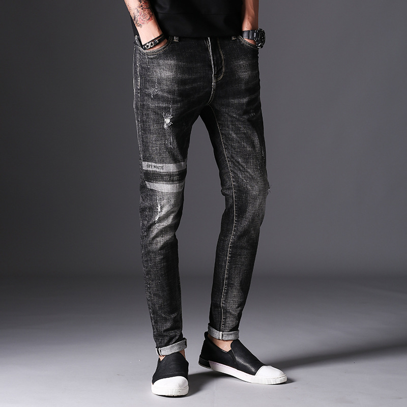 2017 Autumn New Jeans Men Hole Ripped Slim Fit Denim Trousers Biker Jeans Skinny Brand Clothing High Quality print plaid 2017 fashion patch jeans men slim straight denim jeans ripped trousers new famous brand biker jeans logo mens zipper jeans 604