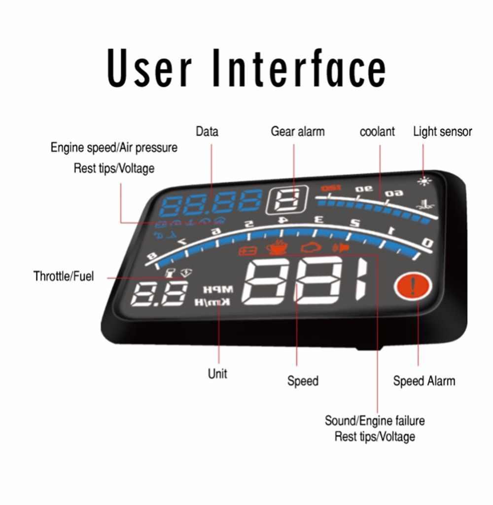 "4E 5.5 ""سيارة هود رئيس يصل عرض سيارة OBD2 II EUOBD السرعة الزائدة جهاز عرض لنظام الإنذار الزجاج الأمامي السيارات الإلكترونية الجهد إنذار"
