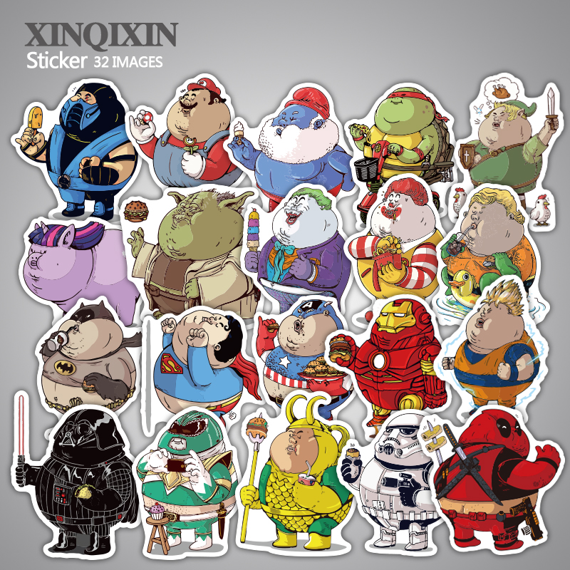 32 Pcs Fat hero Sticker Cute Cartoon Anime Toy Kids Stickers for DIY Portable Phone Luggage