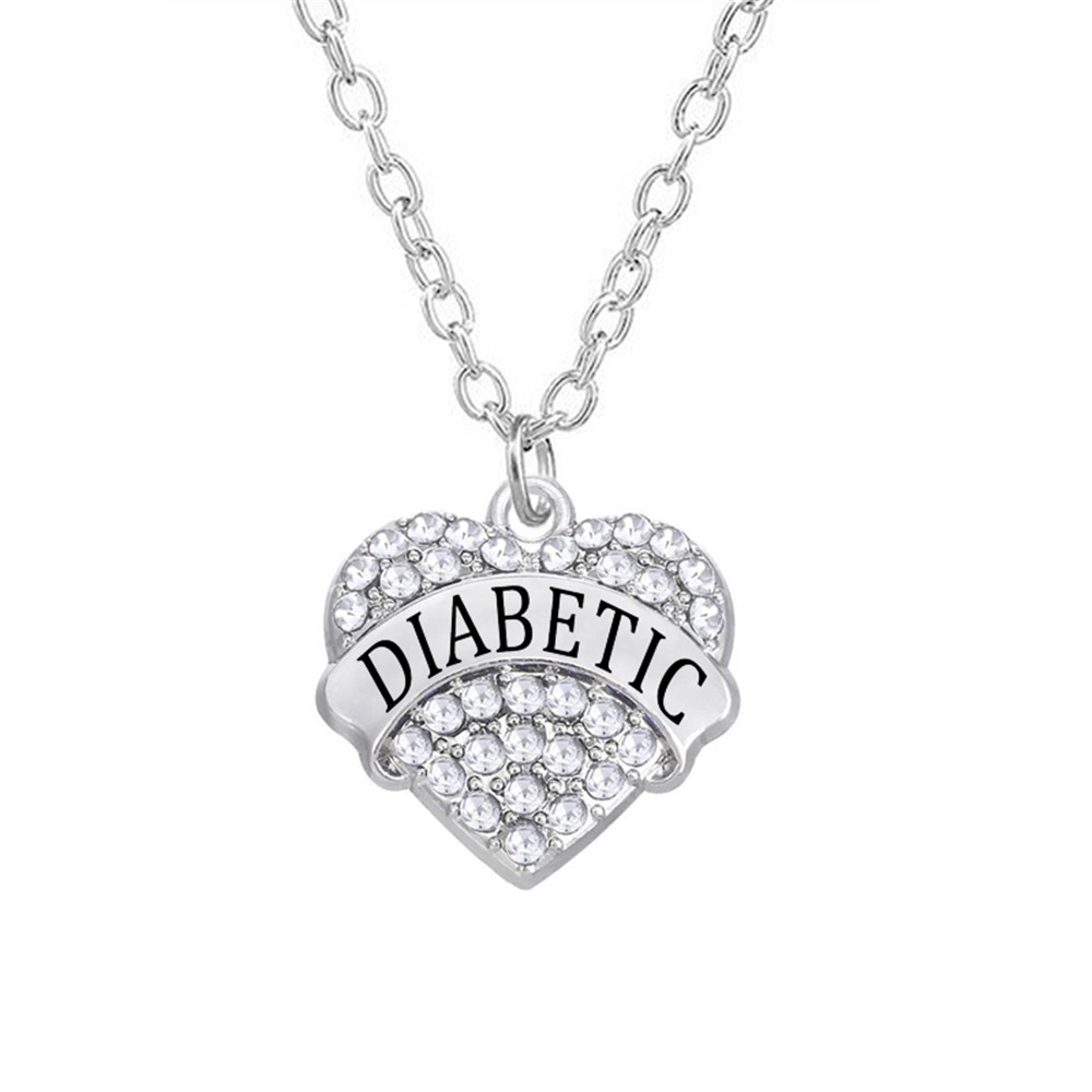 Medic Alert Necklace: Medical Alert Jewelry Alloy Rhodium Plated Heart Styles