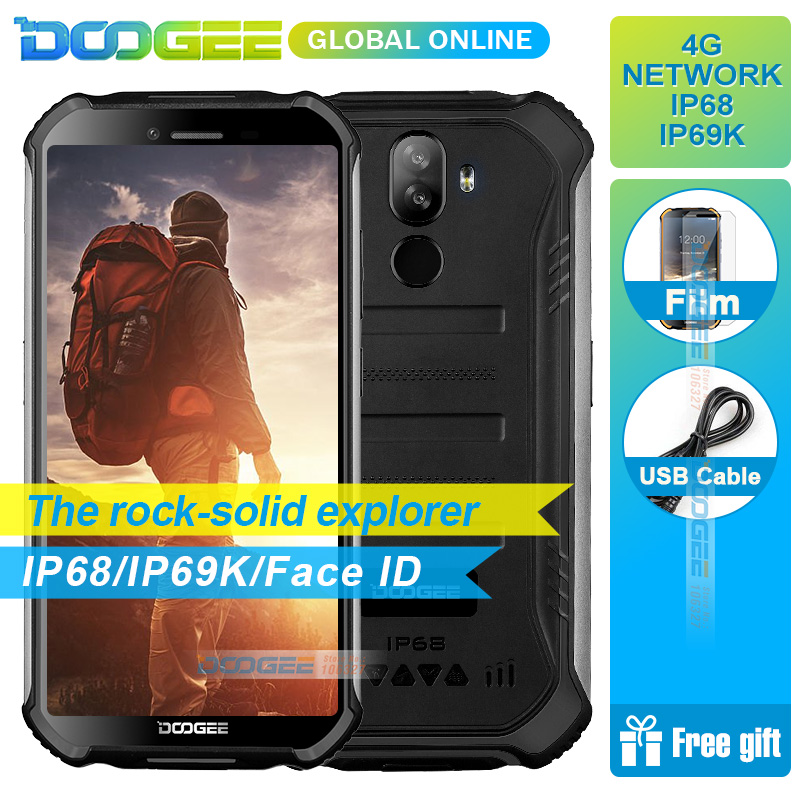 "3GB+32GB IP68 DOOGEE S40 5.5""HD 4G Network Waterproof Mobile Phone 4650mAh 8MP MT6739 Android 9.0 Pie Smartphone"