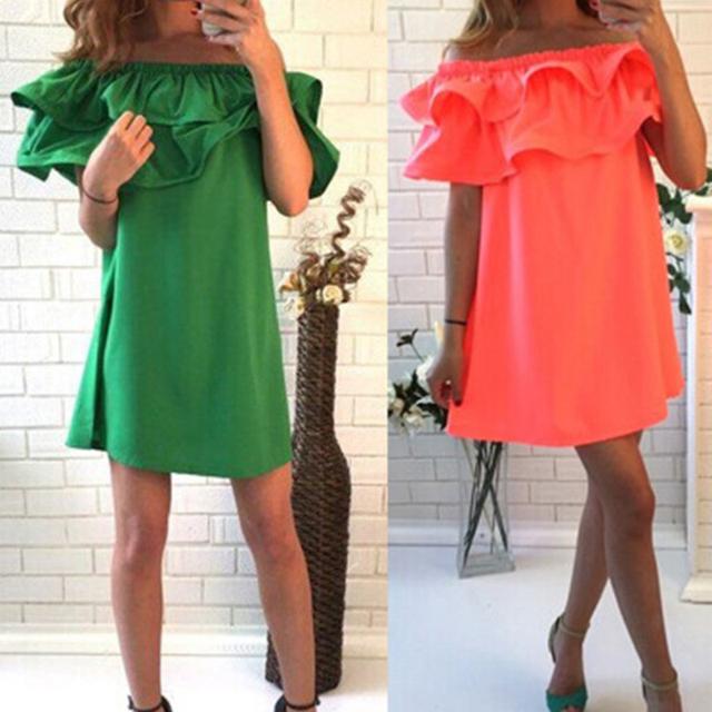 SHIBEVER2017 New Fashion Women Dresses Summer Casual Off Shoulder Woman Beach Dress Sexy Plus Size Party Dresses Vestidos VD1329