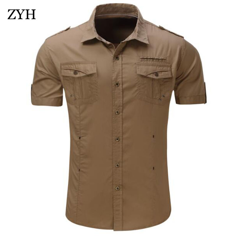 2018 new Mens shirt spring Summer Shor sleeve military men shirts Fashion casual high quality cotton shirt men