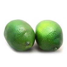 UESH-4pcs Lifelike Artificial Fake Green Lemons Limes Fruit Theater Props Home Party Decorations