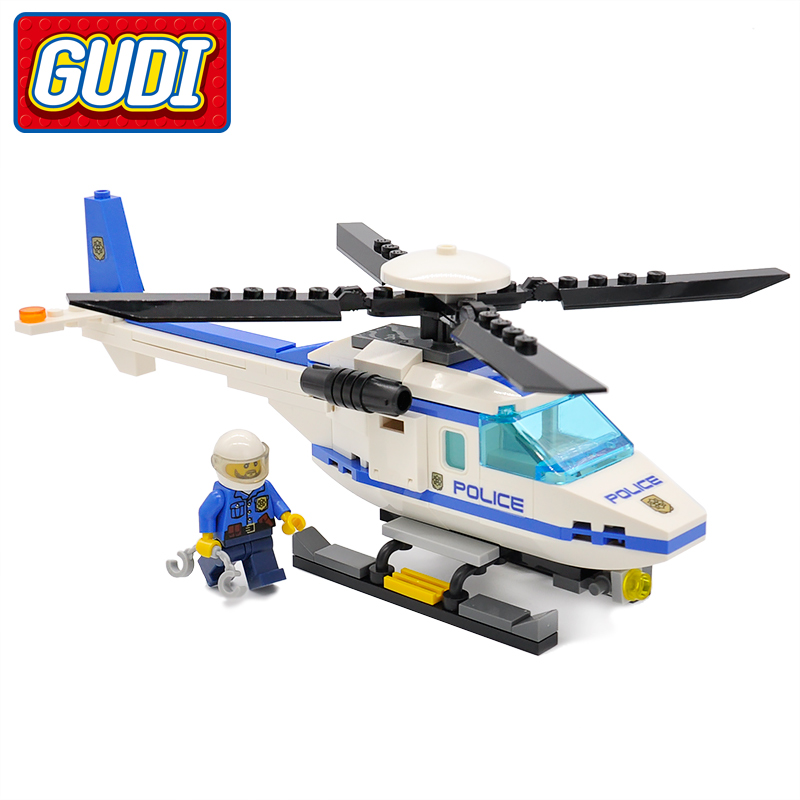 GUDI City Police Helicopter Blocks 111pcs Airplane Bricks Building Block Sets Educational Toys For Children Compatible Legoingly gudi block city large passenger plane airplane block 856 pcs bricks assembly boys building blocks educational toys for children