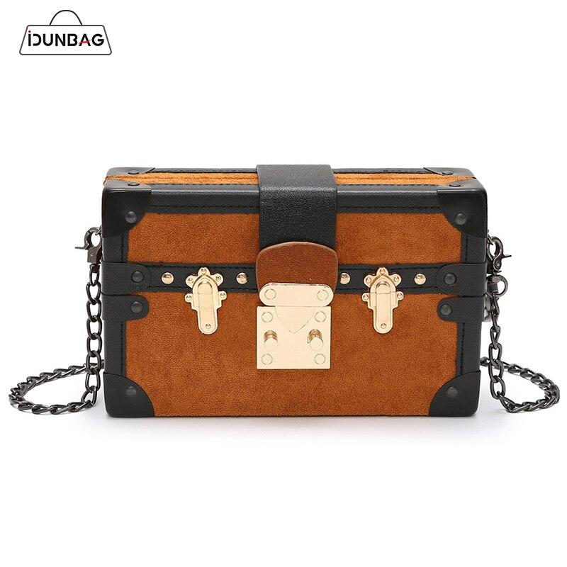Small Rivet Box Bag Vintage Square Handbag Clutch Bag Women Shoulder  Messenger Bags Panelled Nubuck Leather Femme Handbags Purse 4077439ac5