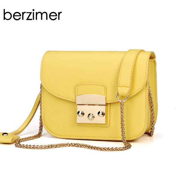 084b75b751 BERZIMER Elegant Women Shoulder Bag Beautiful Black Beige Yellow Orange Red  Blue Gold Silver Green Rose Crossbody Bags for Women